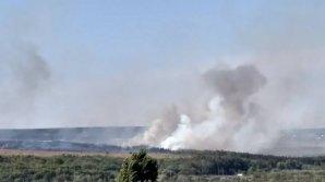 INCENDIU DE PROPORŢII în apropiere de Ialoveni. Trei autospeciale ale pompierilor, la faţa locului (VIDEO/FOTO)