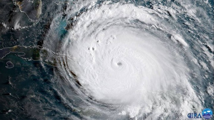 NASA a publicat o imagine geocoloră a uraganului Irma, capturată de satelitul GOES-16