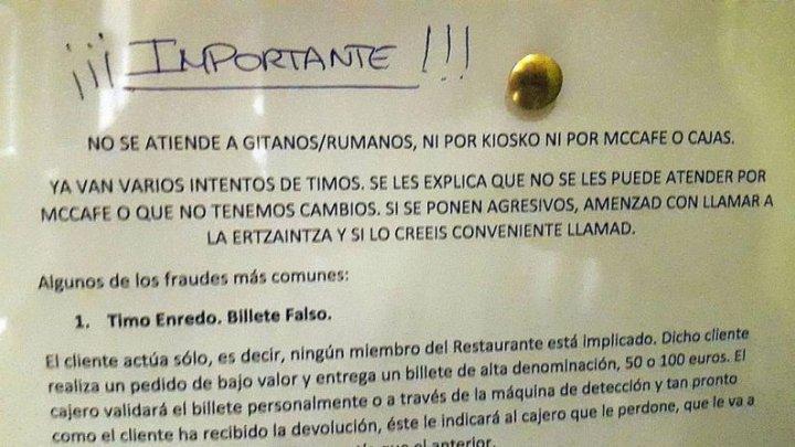 """Plângere împotriva McDonald's Spania: O notă internă le cerea angajaților să nu servească """"țigani/români"""""""