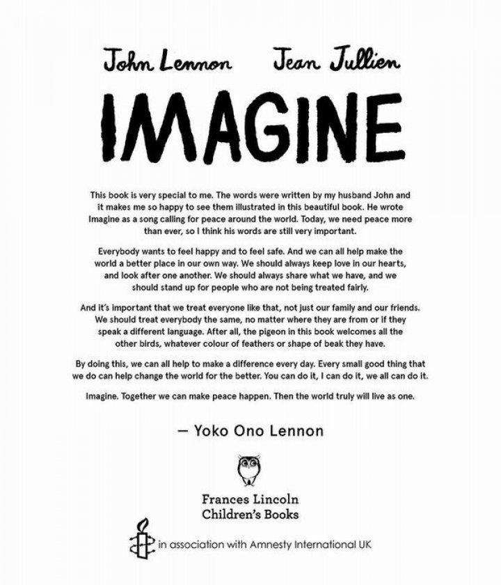 """De Ziua Internațională a Păcii, Yoko Ono lansează albumul ilustrat pentru copii """"Imagine"""""""