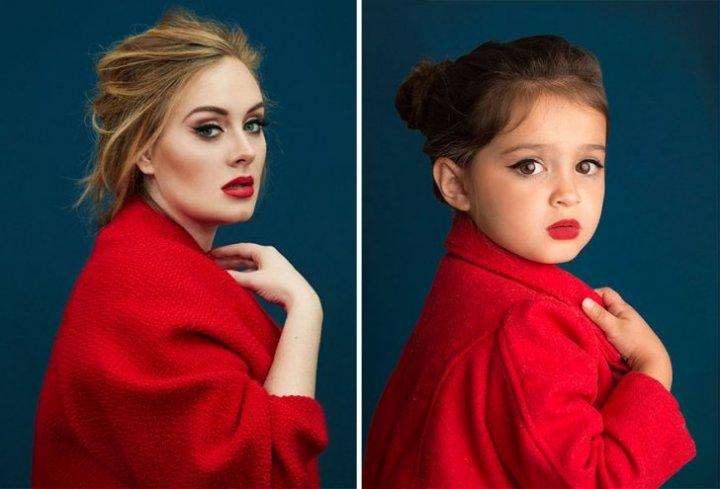 Mimici inedite. O fetiţă model de trei ani imită  personaje celebre (FOTO)