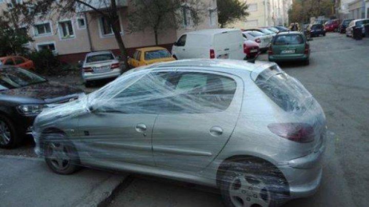 INCREDIBIL! Cum a fost pedepsit un şofer din Gorj, care a parcat prost (FOTO)