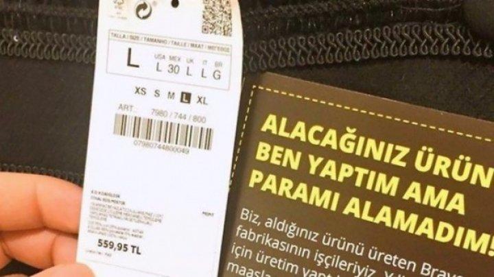 Mesaj CUTREMURĂTOR al muncitorilor de la Zara. Ce au descoperit clienţii în haine
