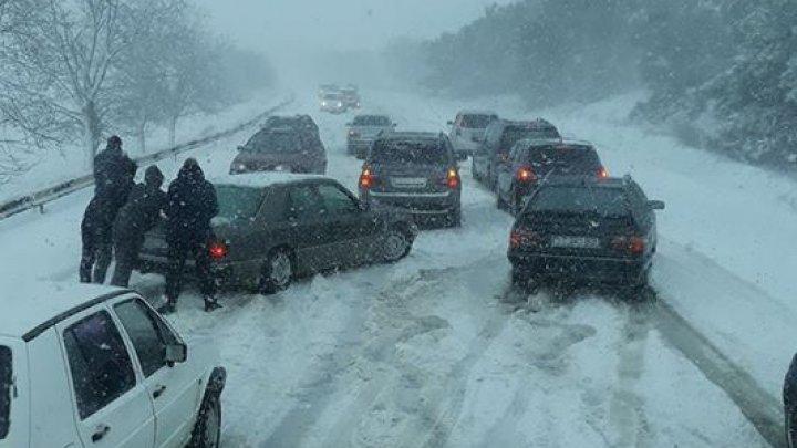 Ninsoarea a mobilizat șoferii. Drumul spre Bender, blocat (FOTO)