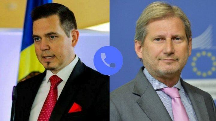 Ministrul Tudor Ulianovschi a avut o convorbire telefonică cu Comisarul European Johannes Hahn