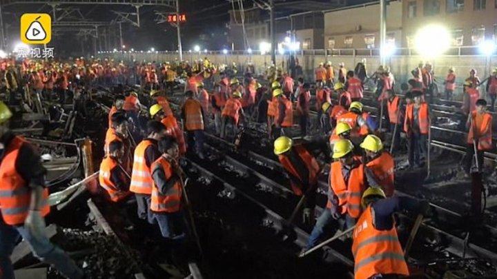 Cât durează să înlocuieşti şinele de cale ferată dintr-o gară? Chinezii au cel mai bun răspuns (VIDEO)