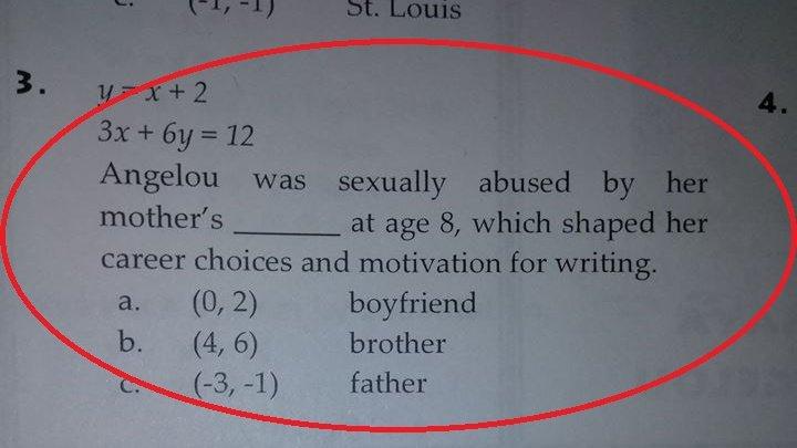 NO COMMENT: Problema de matematică despre copii abuzați sexual, dată ca test la școală în SUA