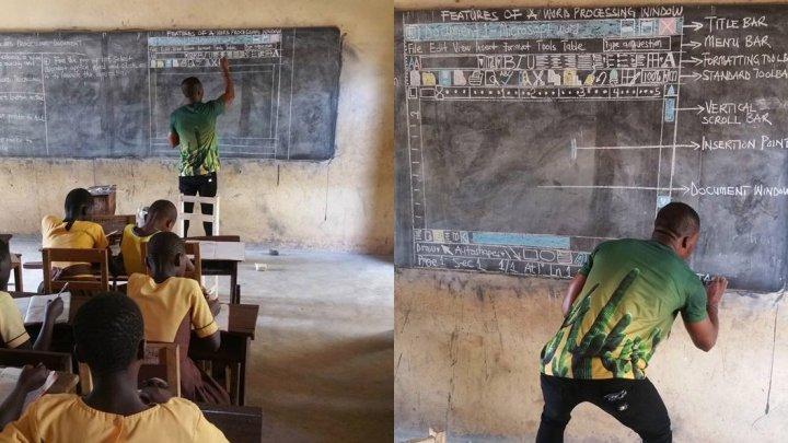 VIRAL PE INTERNET! Un profesor din Ghana predă informatica elevilor, deşi nu dispun de calculatoare (FOTO)