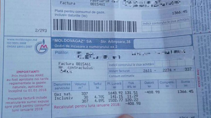 Moldovenii plătesc mai puţin pentru gaz. Primele facturi modificate au ajuns la consumatori: E o reducere considerabilă
