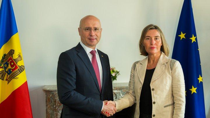 Filip, în dialog cu Federica Mogherini: Vom depune toate eforturile pentru a demonstra cetățenilor beneficiile Acordului de Asociere RM-UE