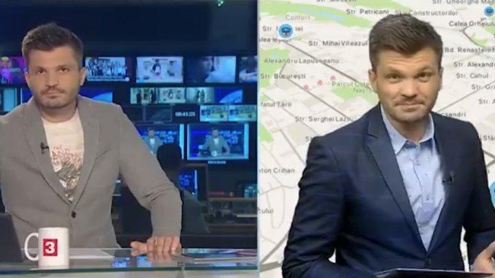 """Întâlnire de """"gradul zero"""" la Canal 3. Momentul în care un prezentator discută tête-à-tête cu el însuși (VIDEO)"""