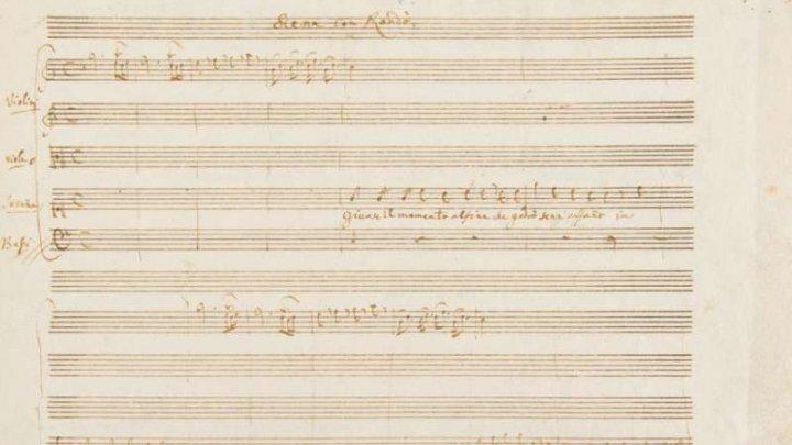 Manuscris excepţional dintr-o arie cunoscută scrisă de Mozart a fost expusă la Paris