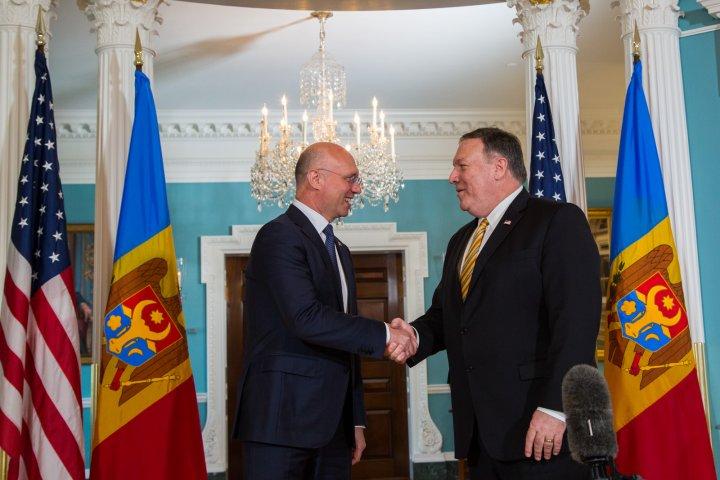 Cooperarea dintre Moldova şi SUA, discutată de premierul Pavel Filip şi Secretarul de Stat al SUA, Mike Pompeo (VIDEO)