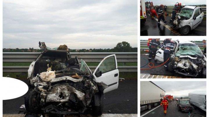 Carnagiu pe A1: 4 morţi şi 3 răniţi grav, după ce un şofer de 70 de ani a intrat pe contrasens (IMAGINI CU PUTERNIC IMPACT EMOŢIONAL)