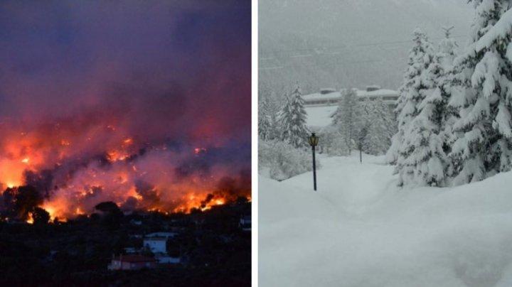 VARĂ APOCALIPTICĂ PE PĂMÂNT! Polurile Planetei se schimbă. Nordul paralizat de incendii, iar sudul de zăpadă