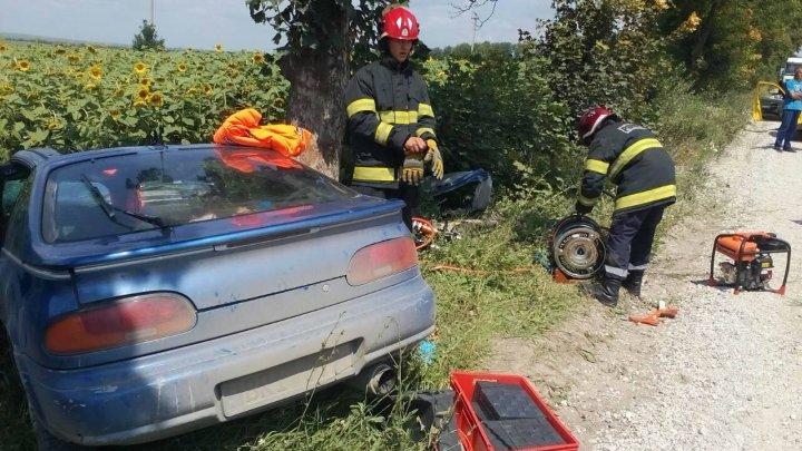 ACCIDENT GRAV în apropierea satului Dobrogea Nouă! O mașină a fost făcută zob după ce a tamponat într-un copac (FOTO)