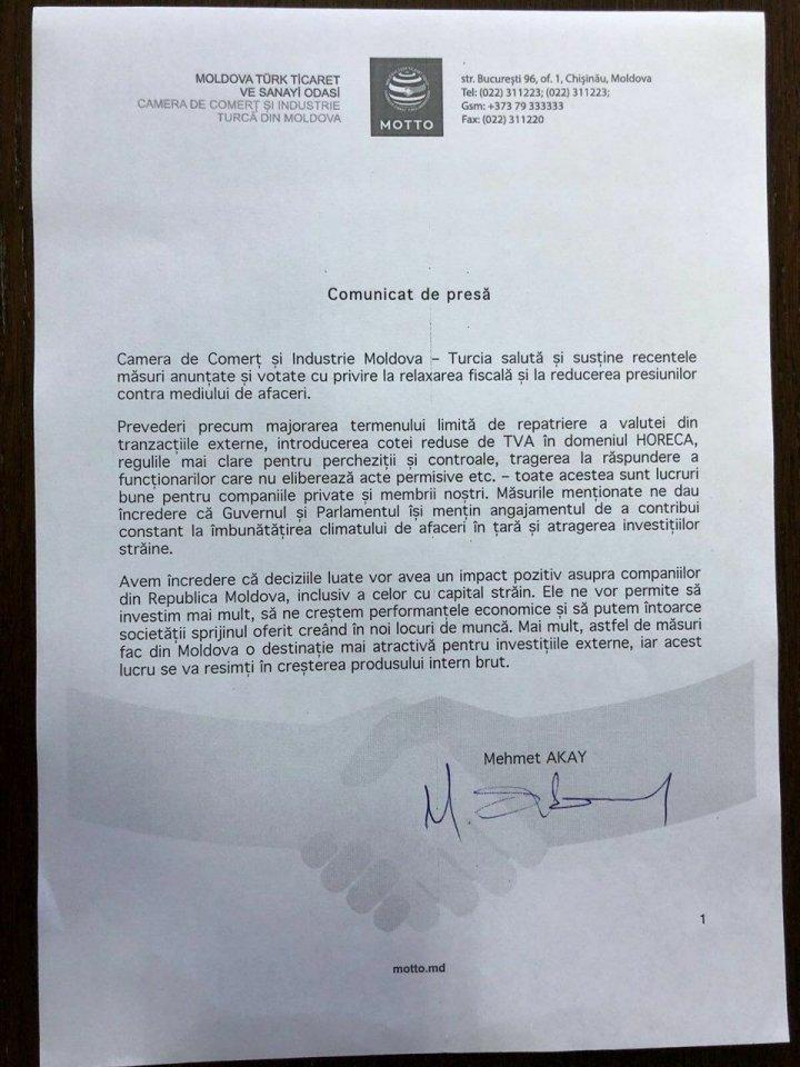 Camera de Comerţ şi Industrie Moldova - Turcia susţine recentele măsuri cu privire la reducerea presiunilor contra mediului de afaceri