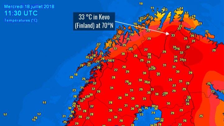 Temperaturi extreme în nordul Scandinaviei. Maximele au trecut de 30 de grade lângă Cercul Polar