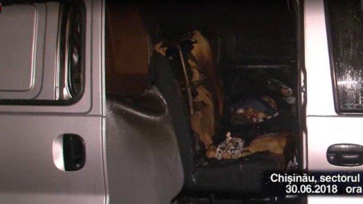 Surpriză neplăcută pentru un şofer din Capitală. S-a trezit cu automobilul în flăcări (VIDEO)