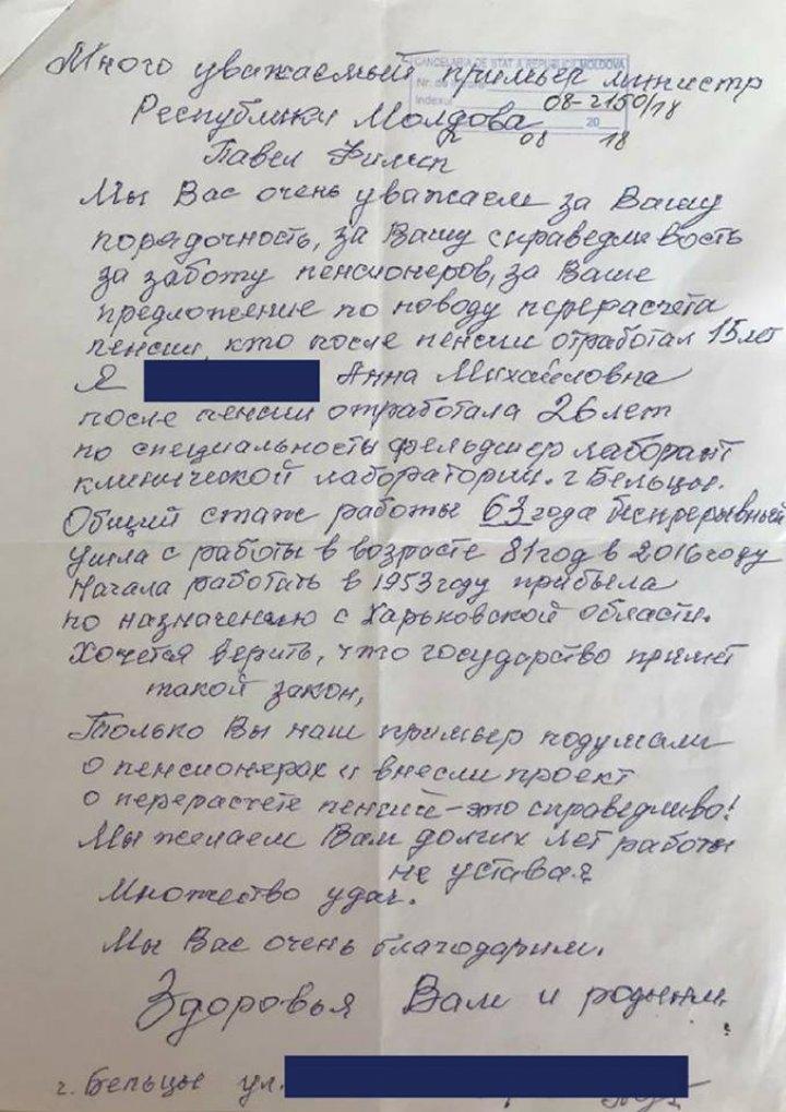 Cetăţenii continuă să APRECIEZE. Pavel Filip a publicat scrisoarea unei femei care îi mulţumeşte de pensie