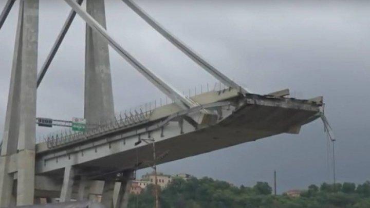ZGOMOTE CIUDATE pe tronsonul estic al podului prăbușit de la Genova. Operațiunile de degajare, întrerupte