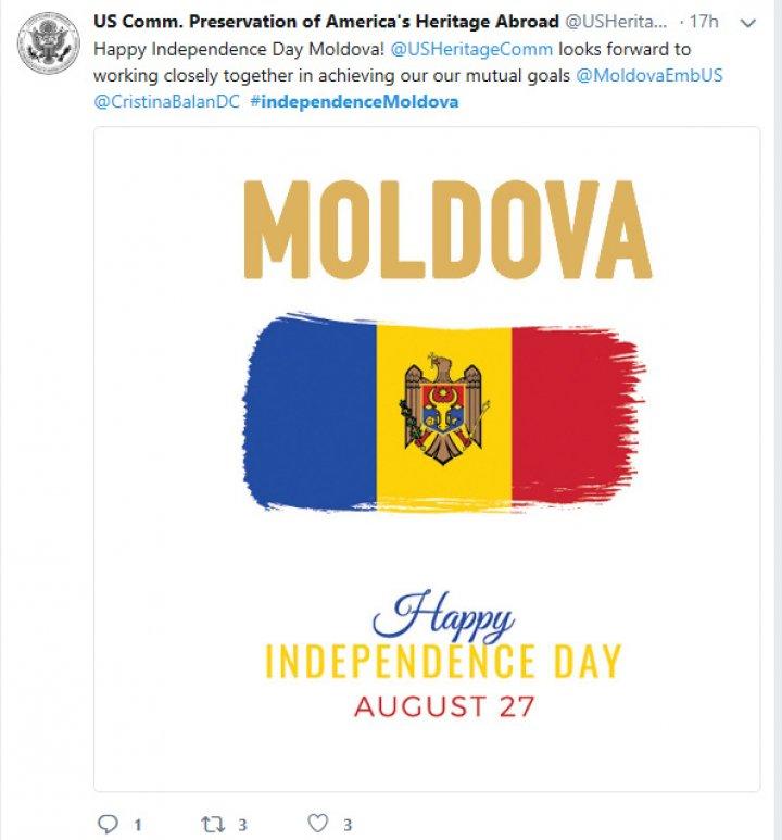 Moldova, felicitată pe reţelele de socializare de mai mulţi oficiali străini