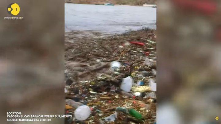 No comment: O cantitate uriaşă de deşeuri a ajuns pe plaja unei populare staţiuni din Mexic