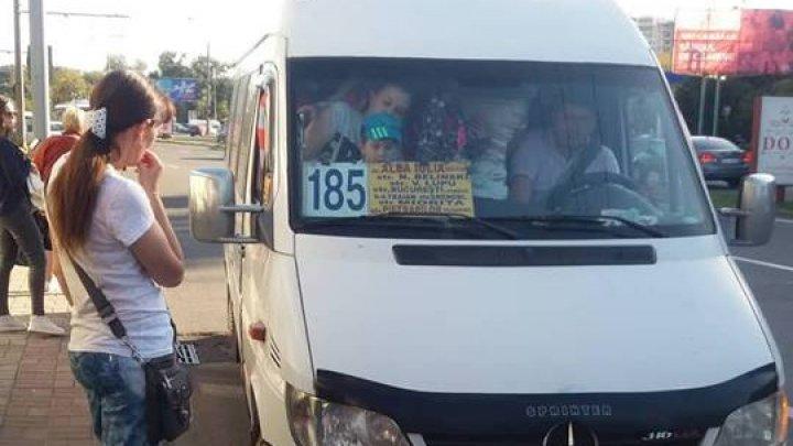 Ca într-o cutie de chibrituri. Cum sunt transportați oamenii care circulă cu maxi-taxiul de pe linia 185 din Capitală (FOTO)
