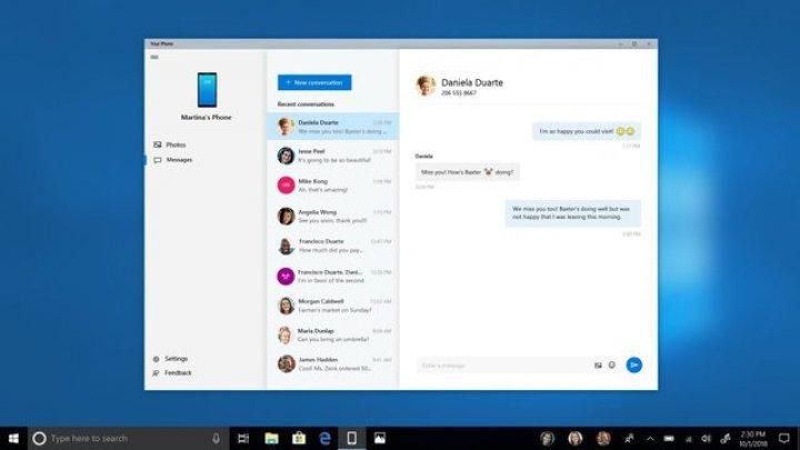 Microsoft a adăugat suport pentru sincronizarea pozelor şi a mesajelor SMS între smartphone şi PC-uri cu Windows 10