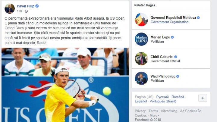 Pavel Filip despre victoria lui Radu Albot: Știu câtă muncă stă în spate și nu pot decât să îl felicit pentru ambiția sa formidabilă