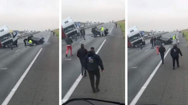 ACCIDENT TERIBIL: O fetiţă de 9 ani, salvată din maşina mamei ei de un şofer. (VIDEO/FOTO cu SCENA DEZASTRULUI)