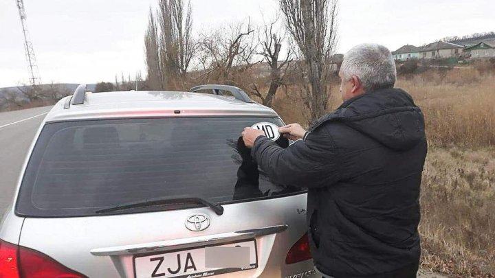 Polițiștii de patrulare oferă abțibilduri cu inscripția MD șoferilor cu numere neutre de înmatriculare