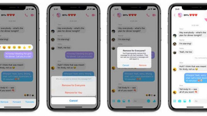 Facebook activează opţiunea pentru ştergerea mesajelor trimise pe Messenger