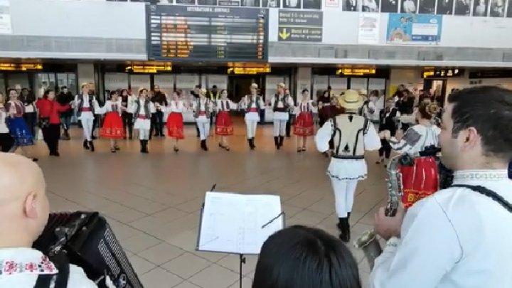 Zeci de pasageri s-au prins în Hora Unirii, în Aeroportul Otopeni din România (VIDEO)
