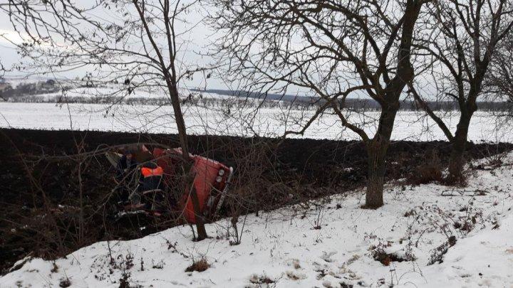 ACCIDENT FATAL la Edineț. Un bărbat a murit după ce a ajuns cu mașina într-un copac (FOTO)