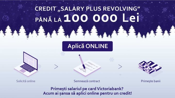 Surprize de Crăciun de la Victoriabank. Aplică pentru credit ONLINE și primești până la 100 000 lei