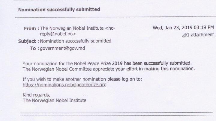 Candidatura lui Ion Lazarenco la Premiul Nobel pentru pace a fost acceptată