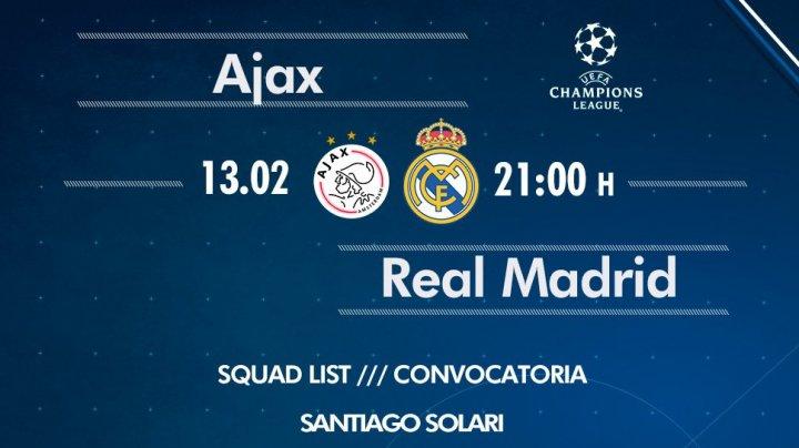 Liga Campionilor: Astăzi Real Madrid joacă cu Ajax la Amsterdam