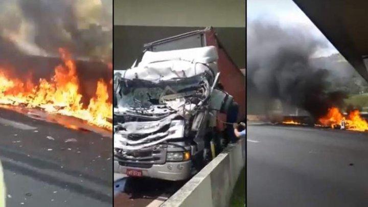 Momentul în care un elicopter s-a prăbuşit peste un camion în mişcare şi a luat foc. Un jurnalist celebru a murit (VIDEO)