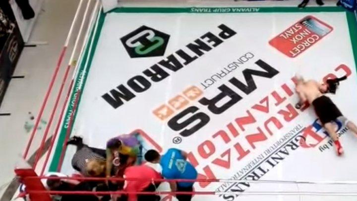 ŞOCANT: Momentul în care un cunoscut prezentator TV a fost pus la pământ în 5 secunde la un meci de kickboxing