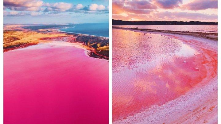 IMAGINI ULUITOARE cu lacul roz care îi fascinează pe turiștii din toată lumea