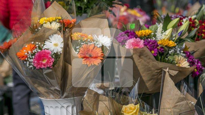 FORFOTĂ MARE în piețele din Capitală. Bărbații au ținut să-și surprindă femeile cu flori (FOTOREPORT)