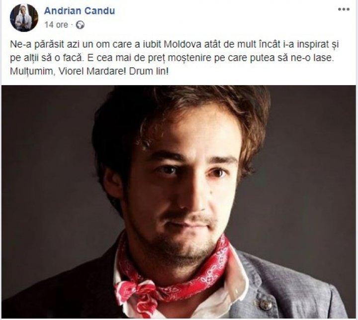 Mesajul lui Andrian Candu despre moartea lui Viorel Mardare