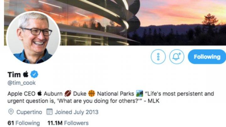 Tim Cook a devenit Tim Apple pe Twitter, după ce Donald Trump i-a greşit numele în timp ce-i vorbea