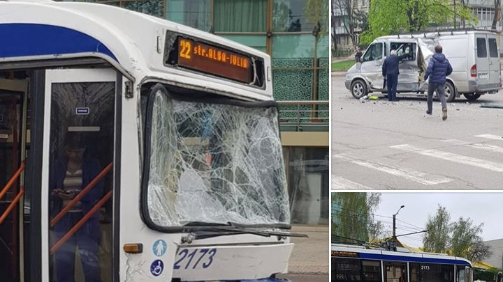 ACCIDENT GRAV în sectorul Buiucani: Un microbuz s-a lovit violent cu un troleibuz. Ambulanţa, la faţa locului (VIDEO/FOTO)