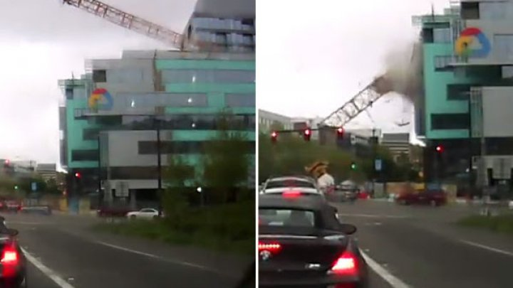 MOMENTUL în care o macara se prăbuşește de pe sediul Google din Seattle (IMAGINI CUTREMURĂTOARE)