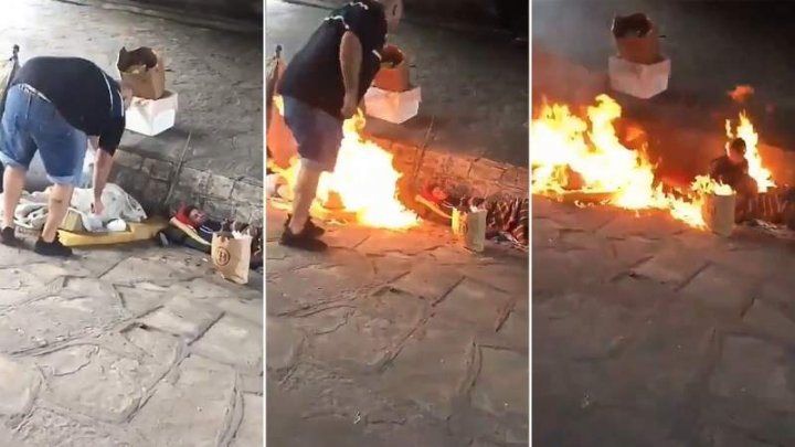 Scene de groază la marginea drumului! Doi bărbați le-au dat foc unor oameni ai străzii (VIDEO)