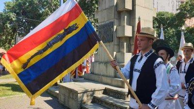 Eveniment inedit: Mai mulţi tineri au marşăluit pe străzi cu 24 de tipuri de steaguri din istoria României (VIDEO)