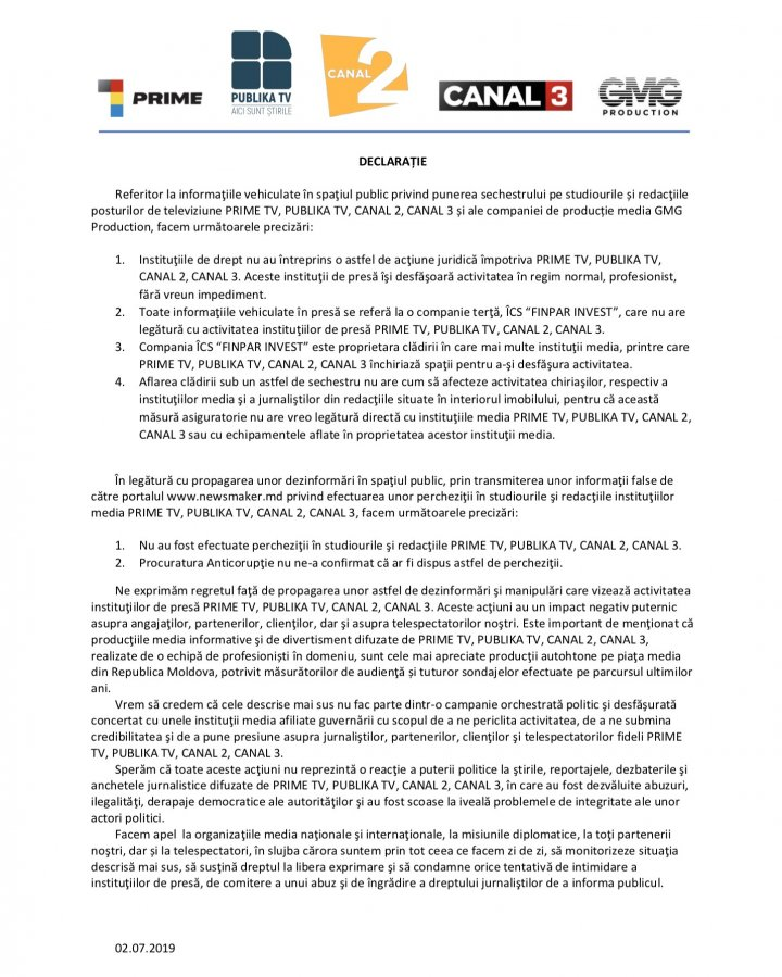 Declaraţia Publika TV privind informațiile false, apărute în presă despre sechestrul pe studiourile și redacţiile trustului media