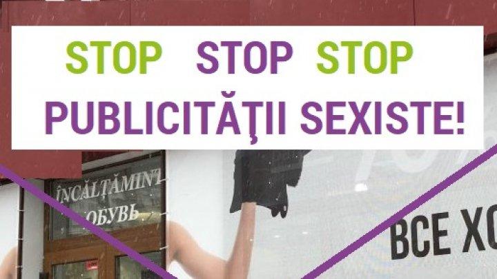 UMILITOR ȘI DEGRADANT. Cum arată panoul sexist dintr-un magazin de încălțăminte din Capitală (FOTO)